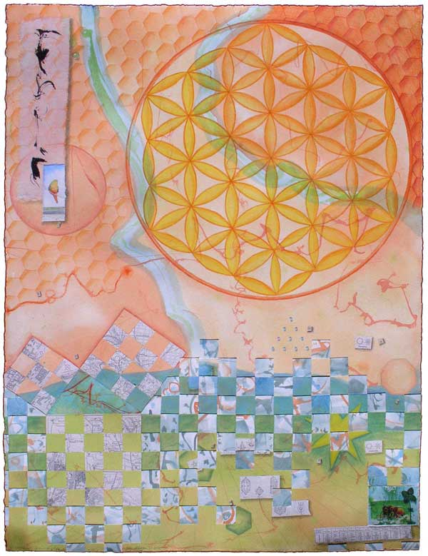 "© Kathleen O'Brien, ""As Above, So Below"", watercolor, drawing, petals, collage, 2013"
