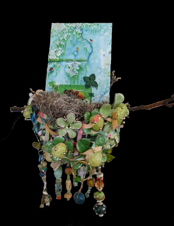 "© Kathleen O'Brien, ""Floral-Freeway-Nest"", oil, drawing, objects, beads, 2013, private collection"