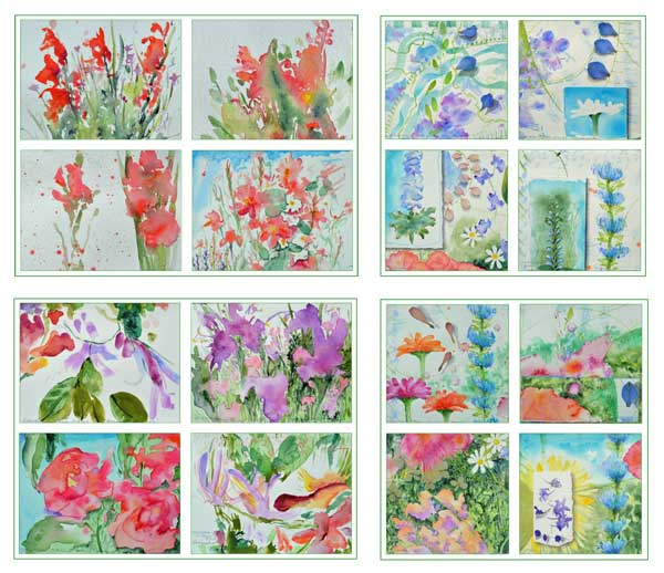 """© Kathleen O'Brien, """"Bouguet series"""", 16 cards, watercolor, drawing, petals, collage, 2017"""