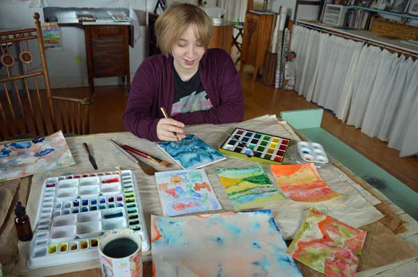 Mayme practicing watercolor painting 12.29