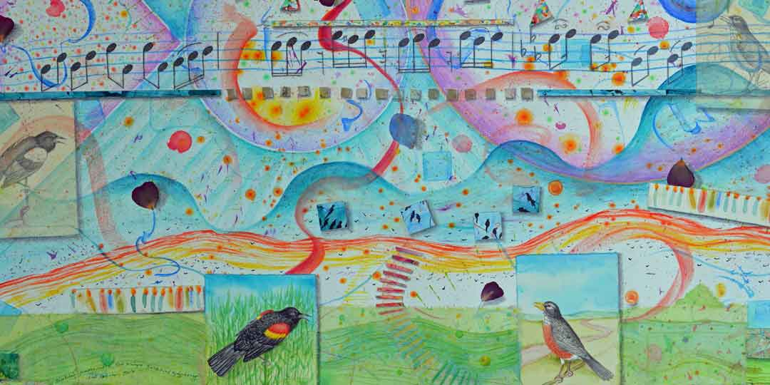 Birthday Party with Red Winged Blackbird Symphony & Robin Solo, detail of watercolor, drawing collage by Kathleen