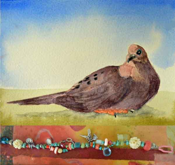 "© Kathleen O'Brien, ""Birds (Mourning Dove) and Beads"", watercolor and Talisman for Hairdressers, 2019"