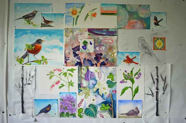 © Kathleen O'Brien, Gouache birds and botanicals, April