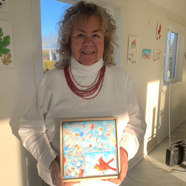 """Kathleen O'Brien in studio with """"Sunwise Cardinal"""" for interview"""