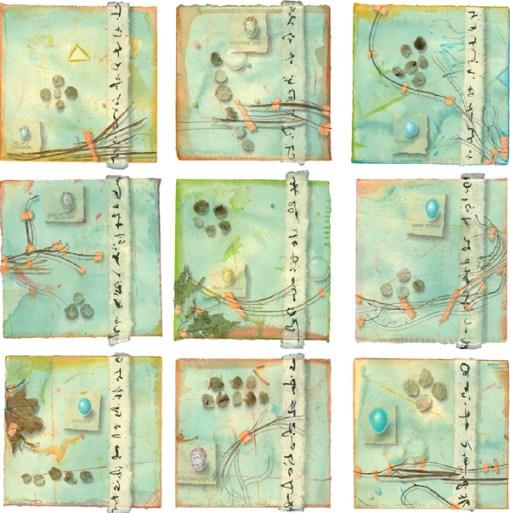 """Nine Bird Eggs"", ©Kathleen O'Brien, collaged watercolor, drawing, botanicals, mica"