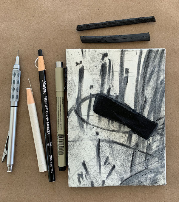 """""""Seeing Both Sides"""" with Vine Charcoal , beeswax crayon, pens, pencils by Kathleen O'Brien"""
