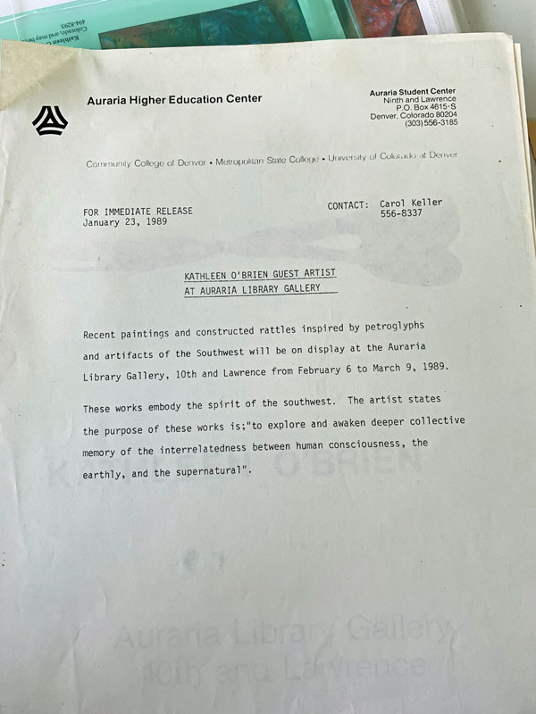 Gallery statement of Kathleen O'Brien's show at Auraria Library Gallery, Denver CO, 1989