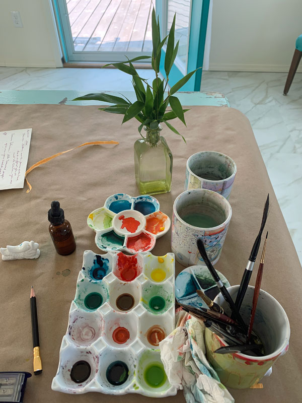 Second pallette, Organic Vermillion, Marine Blue and Imidazolone Yellow, bamboo