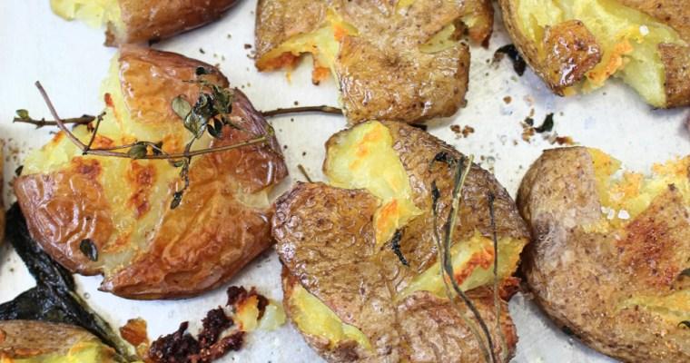Crispy Salt & Vinegar Smashed Potatoes