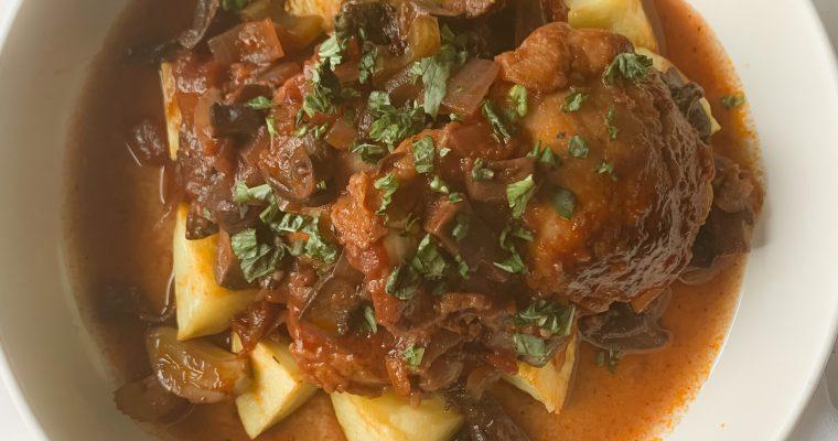 30 Minute Coq au Vin (Chicken + Mushrooms Braised in Red Wine)