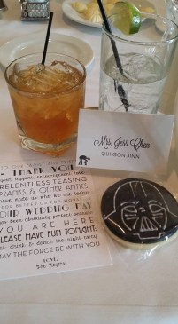 We placed thank you cards at each place setting (and had Star Wars cookies for favors).