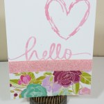 Dear Lizzy Serendipity Sketchy Heart Hello Card:  Handmade Greeting Card