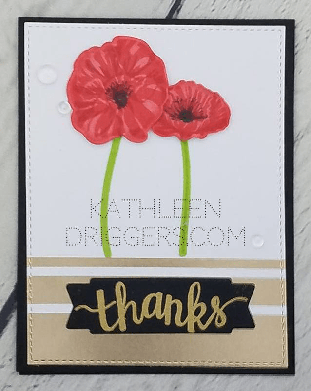 Layered poppy flower cards kats adventures in paper crafting for my second card i used the same paper pad which had this gorgeous gold foiled wood grain paper in it i stamped and die cut the poppies and added a gold mightylinksfo