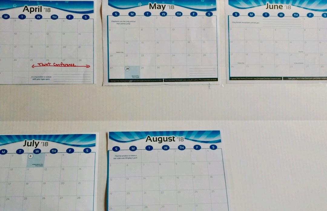 K's Wall Calendar Schedule 2018