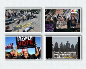 Collage of images showing demographics that voted for Joe Biden