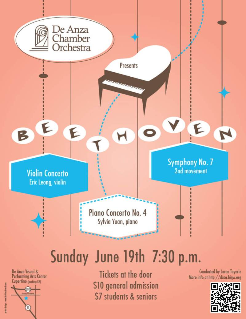 De Anza Concert Poster - Retro Beethove