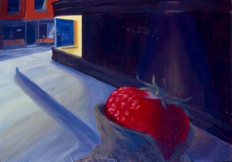 Schizophrenic Strawberry. Inspired by the painting by Edward Hopper.
