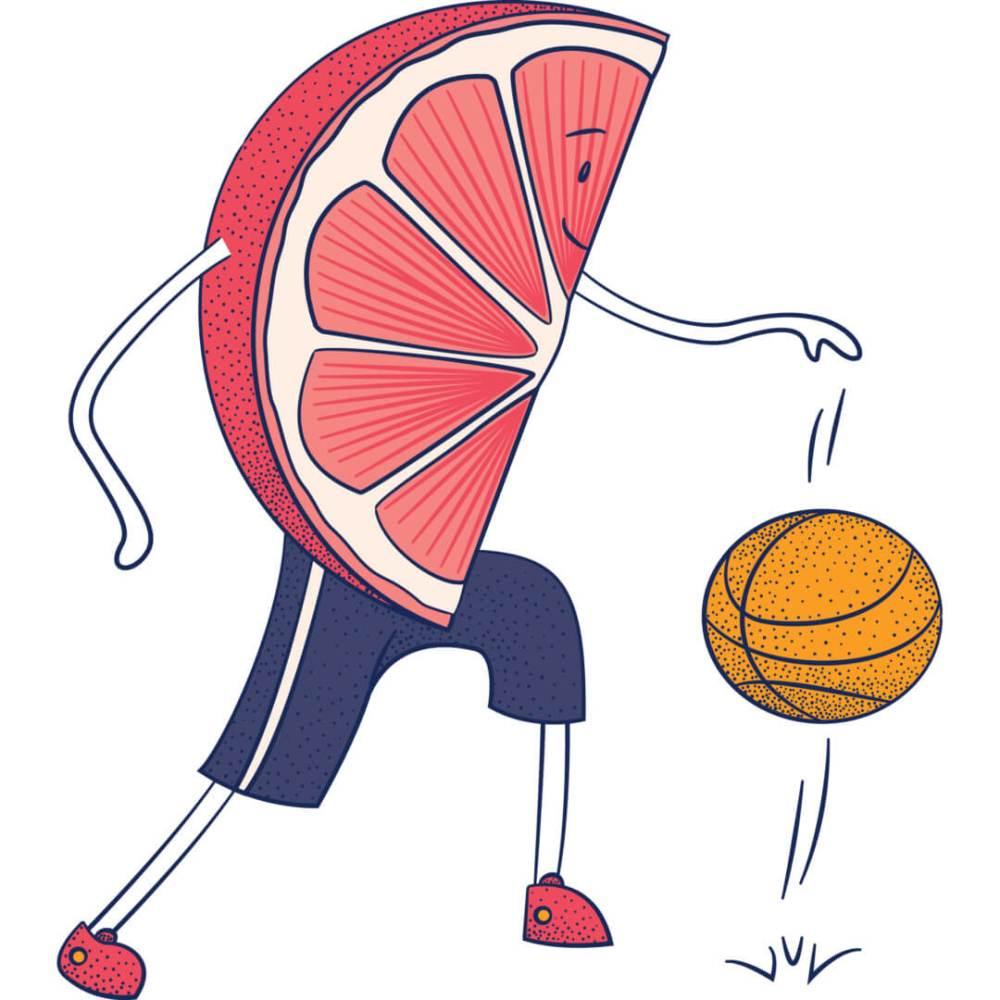 Health-Ade kombucha Grapefruit Blood Orange Basketball Player