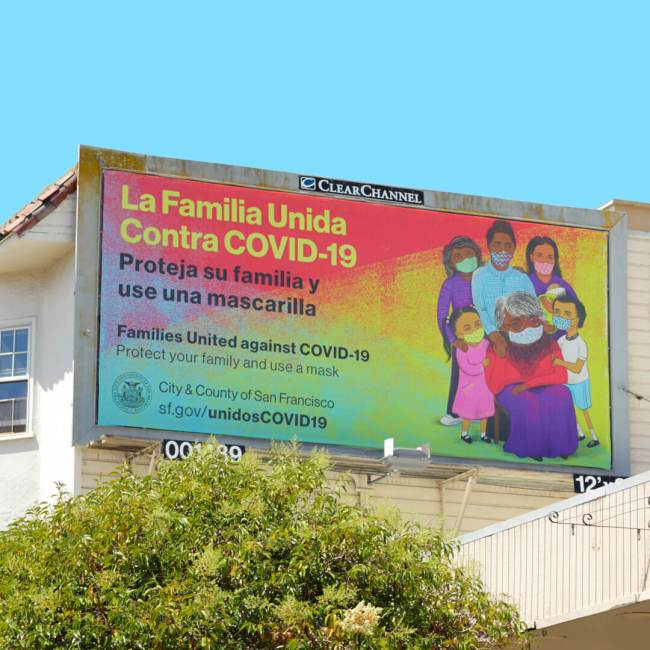 Billboard of Latinx Family wearing masks during COVID-19 Pandemic