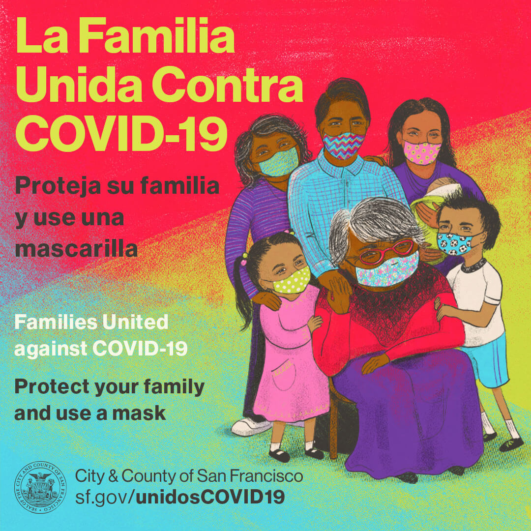 Latinx Family wearing masks during COVID-19 Pandemic