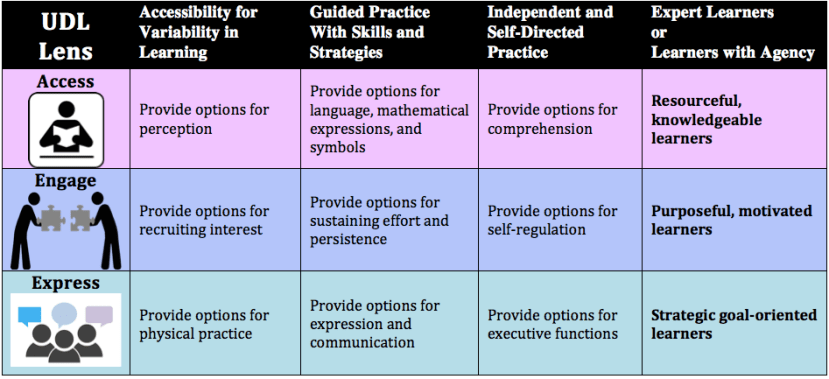 UDL lens of Access Engage and express progressions chart