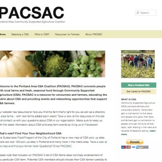 Portland CSA Coalition home page before the redesign