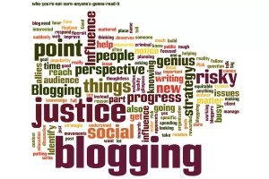 """This post's text as a wordcloud. The word """"blogging"""" is the biggest word."""