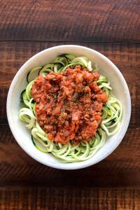 Turkey bolognese made easy served with zucchini noodles make a perfect filling, low carb meal. Kathleenscravings.com