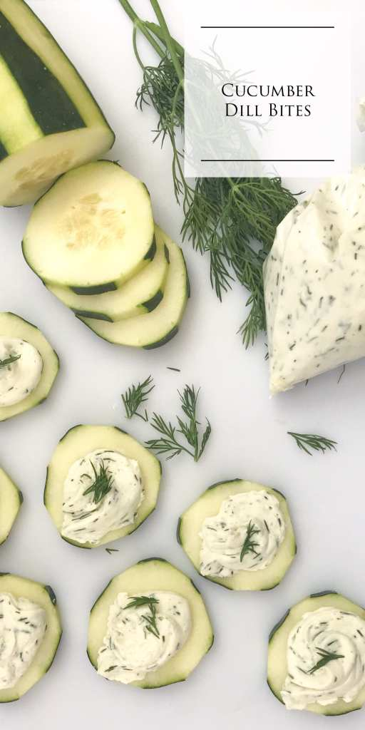 Fresh Cucumber Dill Bites are the perfect easy, no cook, bite size appetizer for your next party or potluck. Cucumber slices are topped with fresh dill cream cheese. A great, healthier, alternative to your typical party snack.