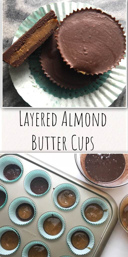 Made with clean ingredients, no baking required, and stored in your freezer, these Layered Almond Butter Cups are the perfect chocolatey treat at the end of your day. Feel free to substitute peanut or cashew butter for your own spin. With no processed sugar, these creamy cups are a perfect guilt-free way to satisfy your sweet tooth.