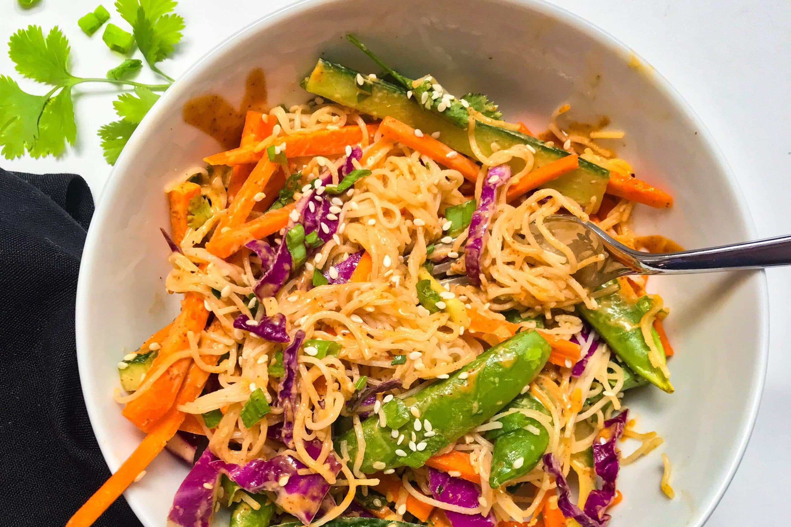 Asian Noodle Salad with an Almond Dressing