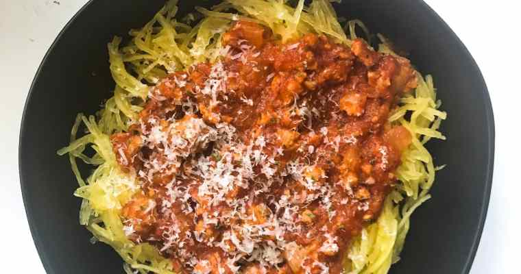 5 Ingredient Sausage Tomato Sauce with Spaghetti Squash
