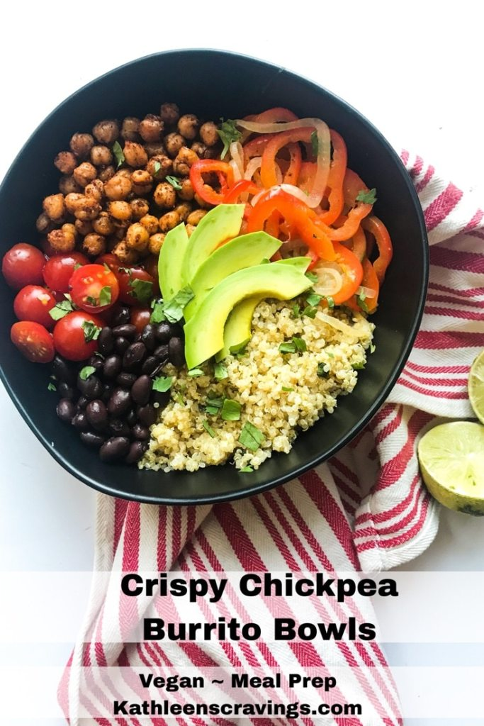 Meal Prep friendly, vegetarian (even vegan) - these Crispy Chickpea Burrito Bowls pack a punch! Lots of protein and fiber from the chickpeas, quinoa, AND black beans make these bowls extra filling perfect for a weekday lunch OR dinner. Super customizable keeps them from getting boring throughout the week. Recipe at Kathleenscravings.com