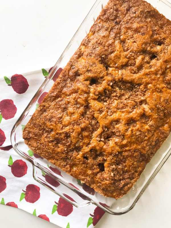 This Cinnamon Sugar Apple Cake is extra moist and loaded with fresh apple chunks. And don't forget about the crunchy cinnamon sugar topping. Meet your new favorite fall dessert (or even serve as a sweet treat at brunch).