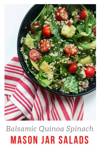 These Balsamic Quinoa Spinach Mason Jar Salads are the perfect meatless, vegan meal prep. Layering the ingredients keeps these salads fresh and not soggy all week long. Healthy and filling weekday lunches ready to go. Recipe at Kathleenscravings.com #mealprepsalad #weekdaylunch
