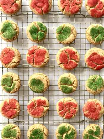 Brown butter sugar cookies on a cooling rack