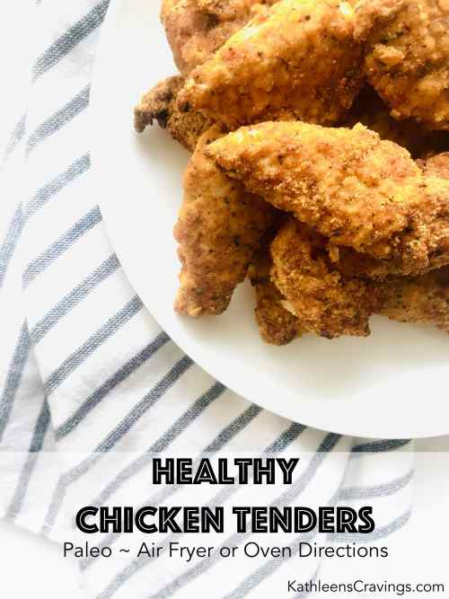 These Healthy Chicken Tenders are paleo and still kid-friendly! Make them in your air fryer or oven, for an easy family friendly meal. Almond flour replaces the bread crumbs to make these paleo compliant. Recipe at KathleensCravings.com #airfryerrecipes #paleochicken #paleorecipes #paleoairfryer