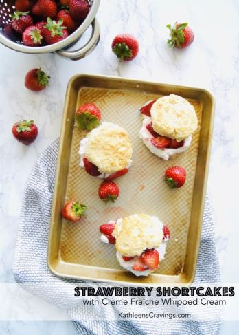 Classic Strawberry Shortcakes on a sheet pan