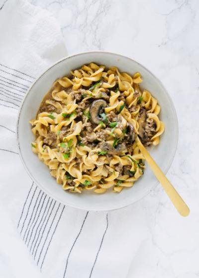 Beef Stroganoff in a bowl with a fork