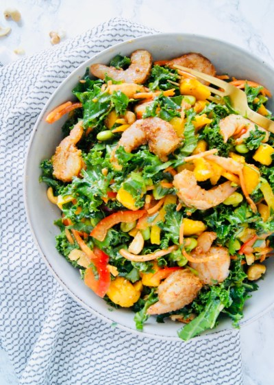 Roasted Shrimp Thai Kale Salad in a serving bowl