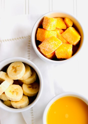 Mango, banana, and orange juice