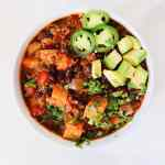 Sweet Potato Black Bean Chili is an easy vegetarian and vegan chili for your busy weeknights. It all comes together in one pot. Healthy and packed with flavor for Meatless Monday.
