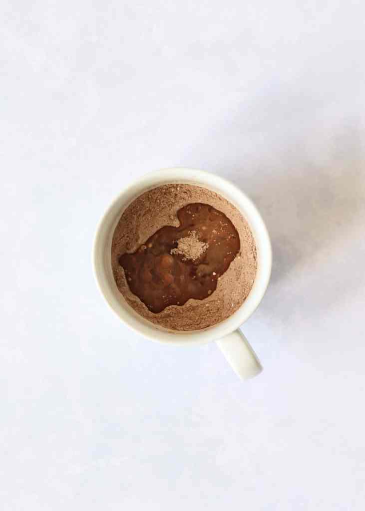 Chocolate mug cake ingredients un mixed