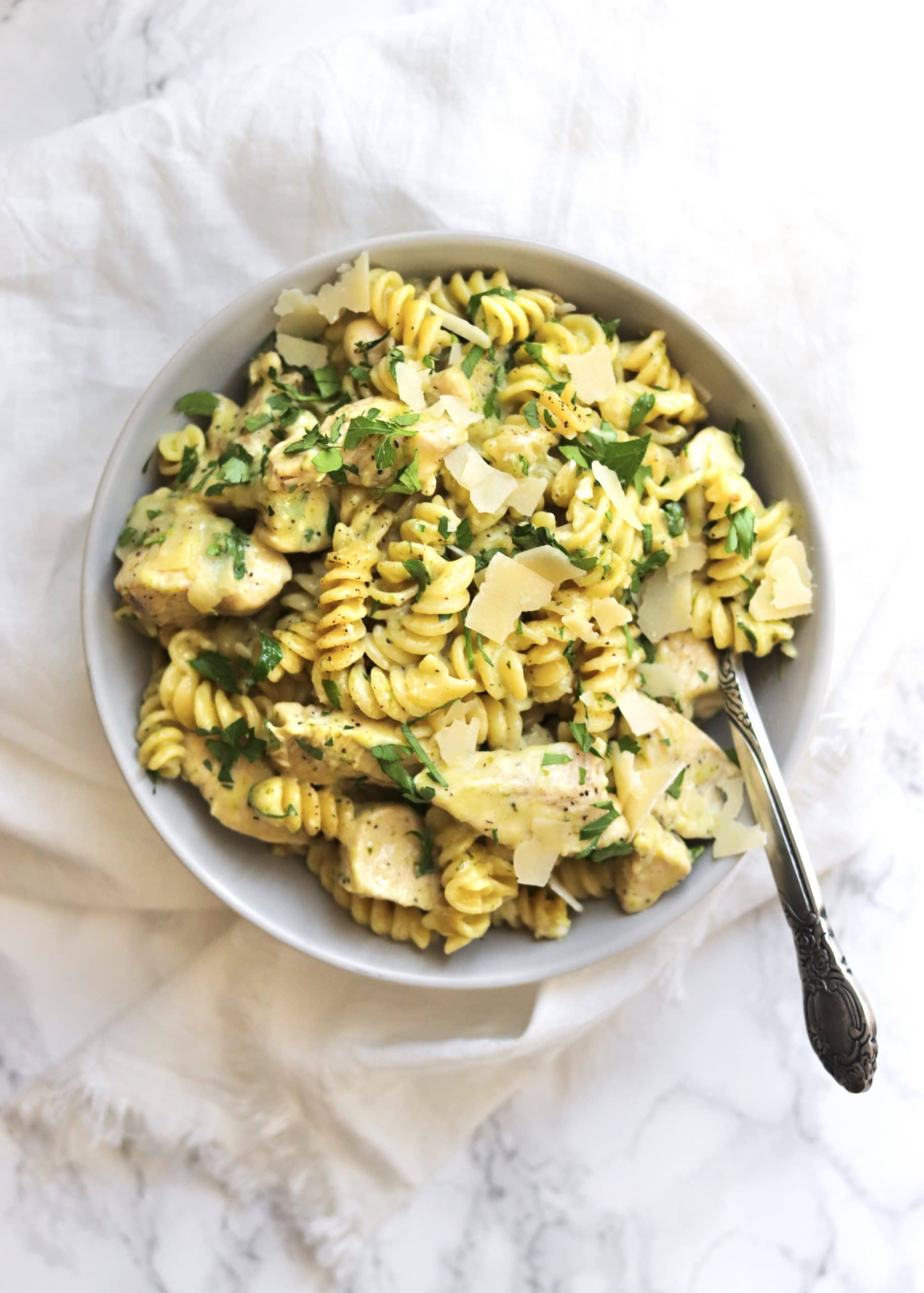 One-Pot Creamy Pesto Chicken Pasta