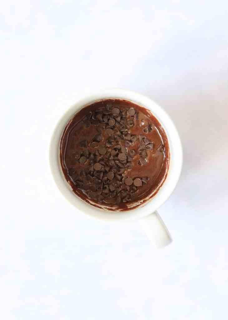 Unbaked chocolate mug cake batter