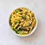Broccoli carbonara pasta in bowl