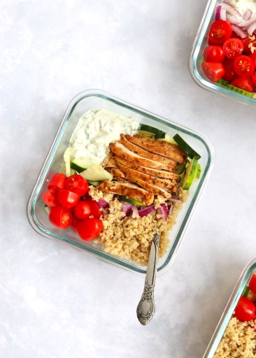 Fork in one assembled meal prep bowl
