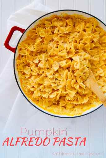 Pumpkin Alfredo Pasta in pan with text overlay