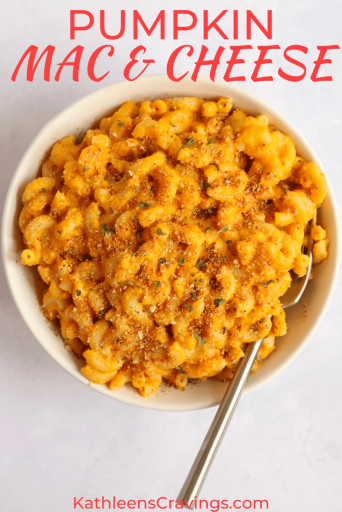 Pumpkin Mac and cheese topped with toasted breadcrumbs in a bowl