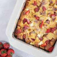 Strawberry and Cream Overnight French Toast Bake